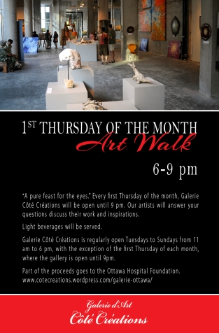 Poster for our 1st Thursday of the month - Art Walk.